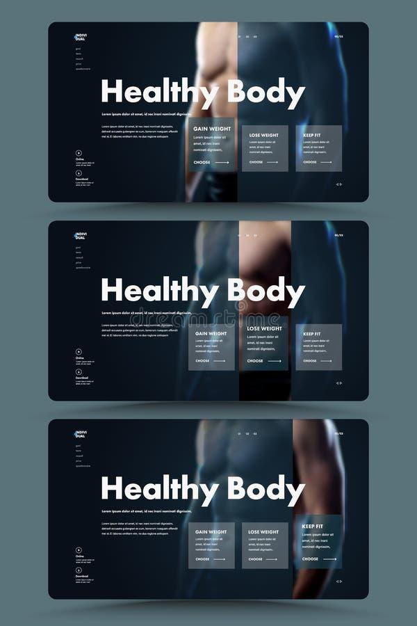 个人教练员和营养师的网站的黑第一个传染媒介屏幕的设计有选择的训练和 库存例证