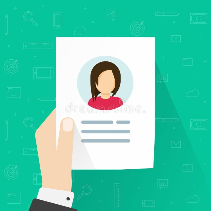 个人用户信息数据象传染媒介例证被隔绝的,平的动画片或外形卡片细节在评论者手上 向量例证