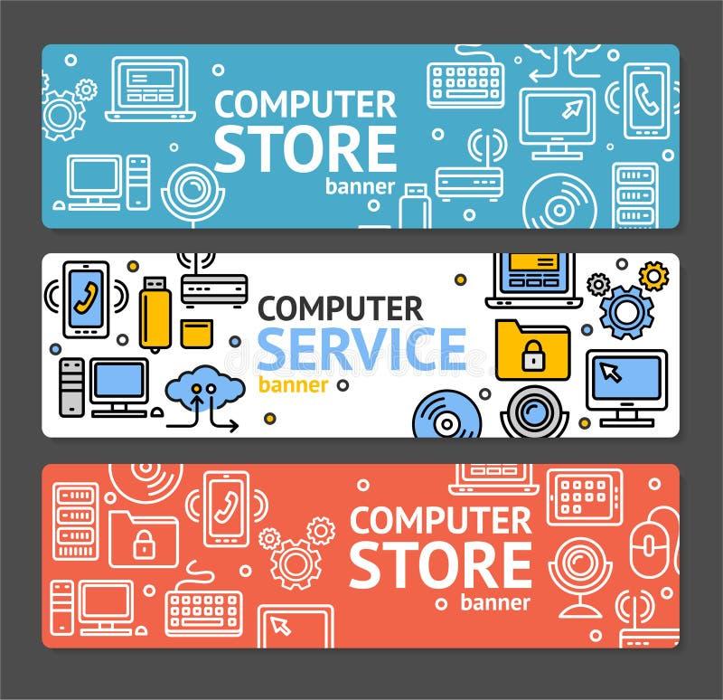个人计算机服务和商店横幅水平的集合 向量 向量例证