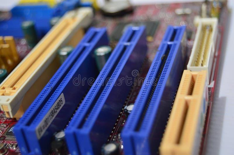 个人计算机电子卡存储卡槽孔  免版税库存图片