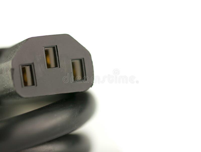 个人计算机的黑人权力缆绳在白色背景solated 图库摄影