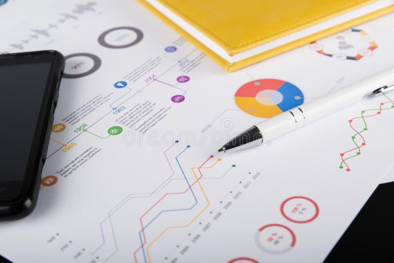 个人议程、图表图和手机 免版税图库摄影