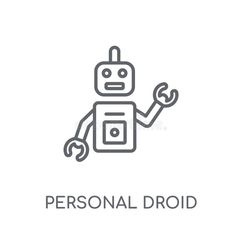 个人droid线性象 现代概述个人droid商标c 皇族释放例证