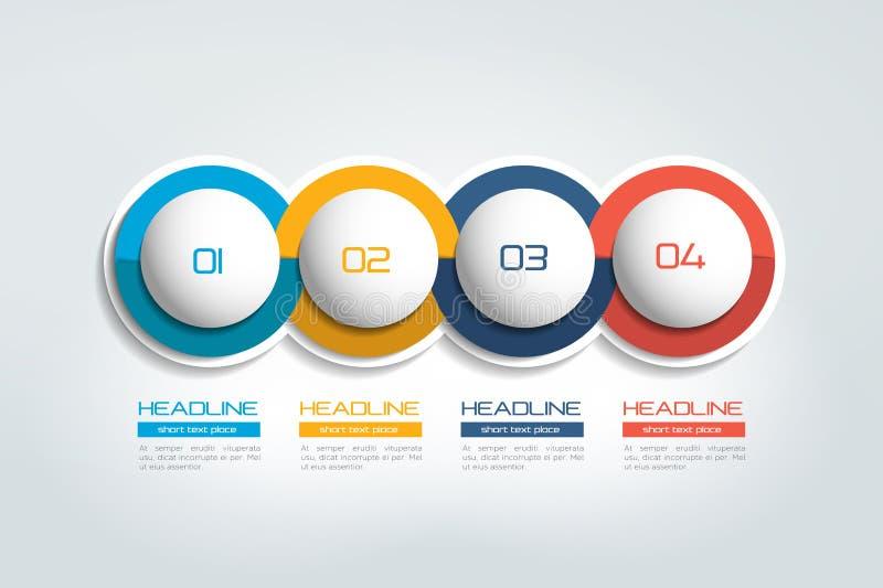 4个企业元素横幅,模板 4步设计,绘制, infographic,逐步的数字选择,布局 向量例证