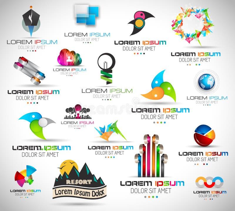 17个优质抽象设计元素的汇集 库存例证