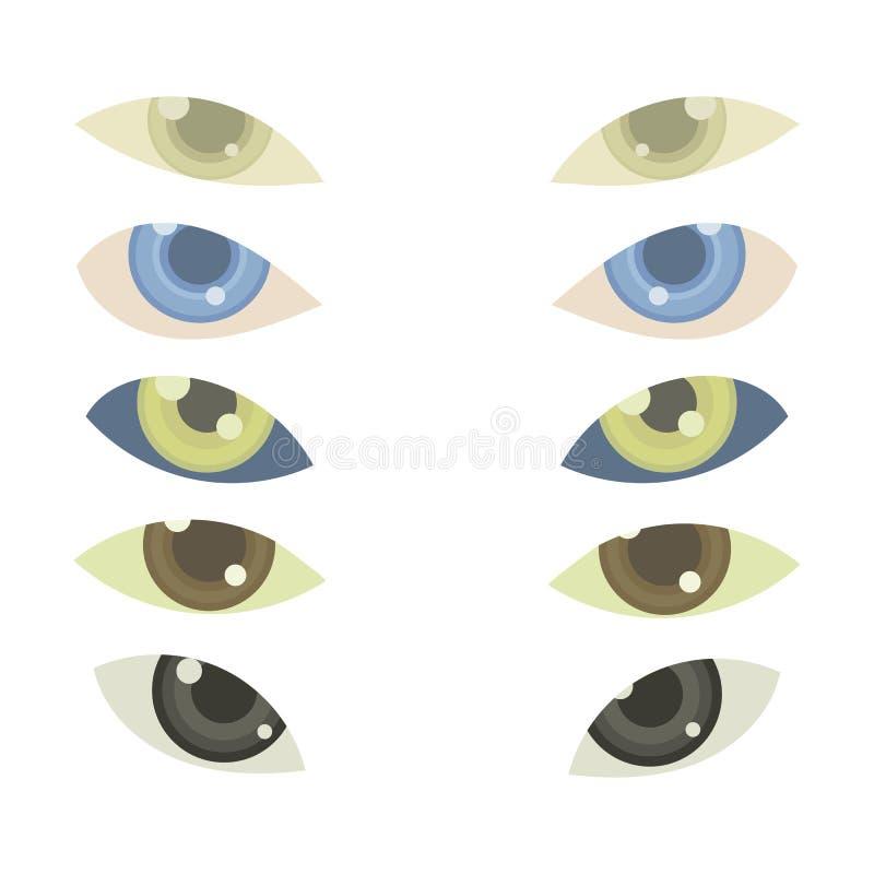 5个传染媒介对与在白色背景或透镜的眼睛隔绝的多彩多姿的虹膜 向量例证