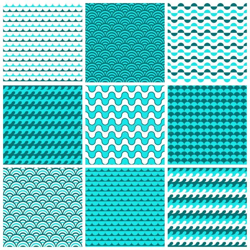 9个传染媒介无缝的样式 向量例证