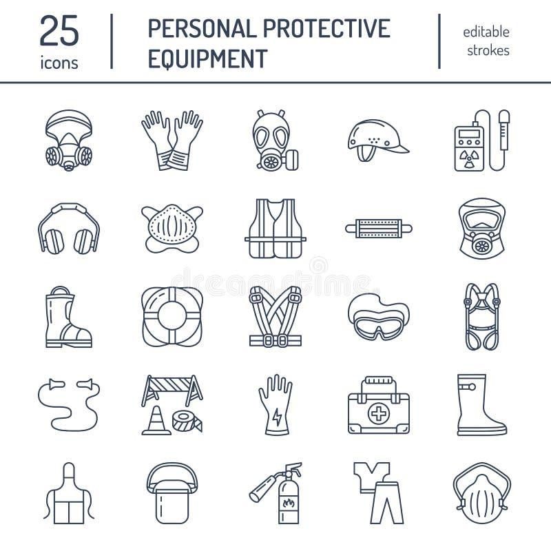 个体防护用品线象 防毒面具、救生圈、人工呼吸机、爆沸盖帽、耳塞和安全运转服装 库存例证