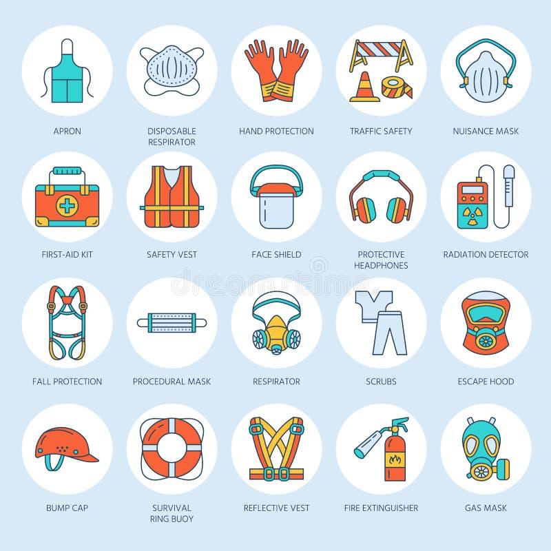 个体防护用品线象 防毒面具、救生圈、人工呼吸机、爆沸盖帽、耳塞和安全运转服装 向量例证