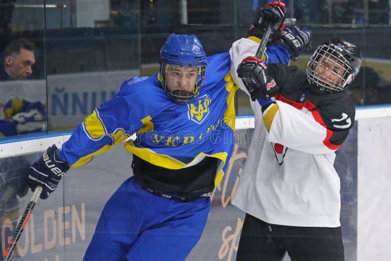2018个冰球U18世界冠军Div 1, Kyiv,乌克兰 库存照片