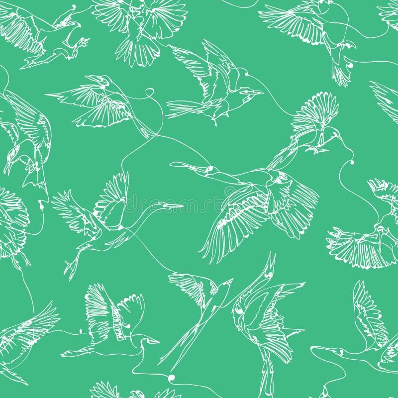 个别线路鸟图画无缝的样式 库存例证