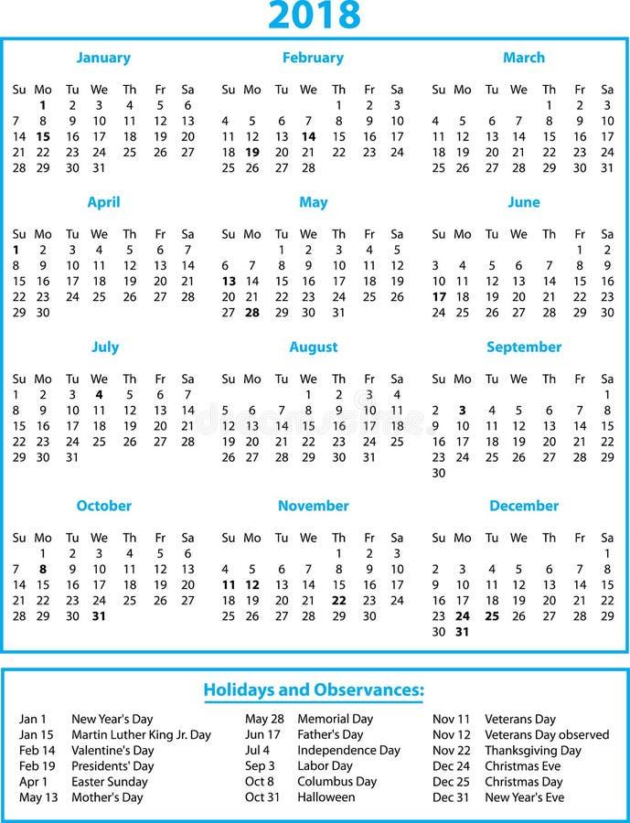 2018个历月和假日蓝色 向量例证