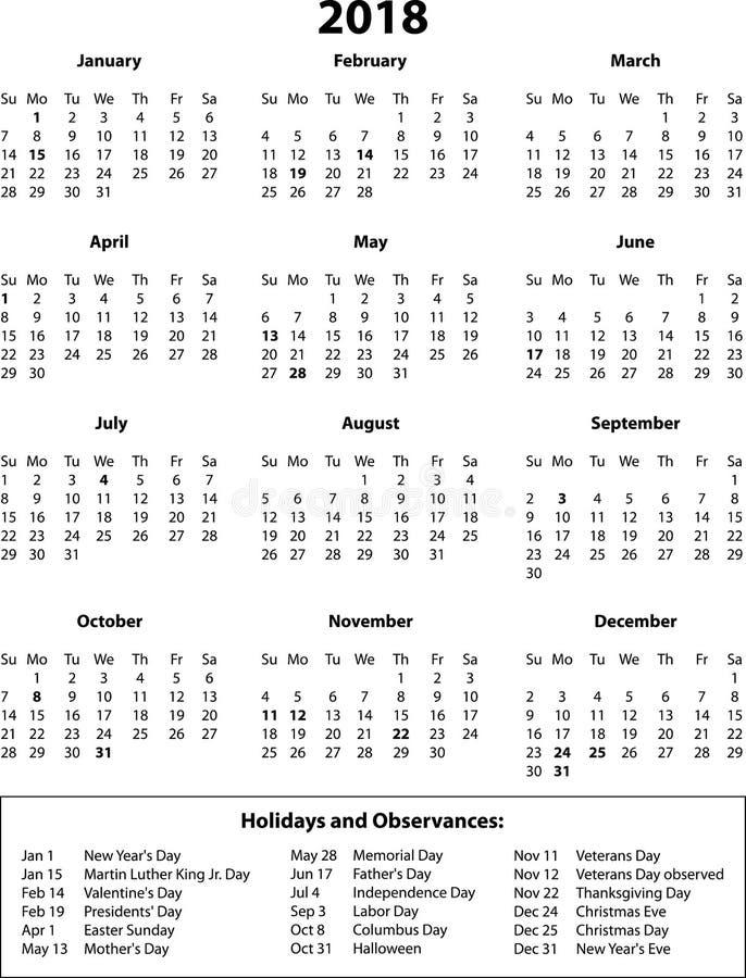 2018个历月和假日B&W 向量例证