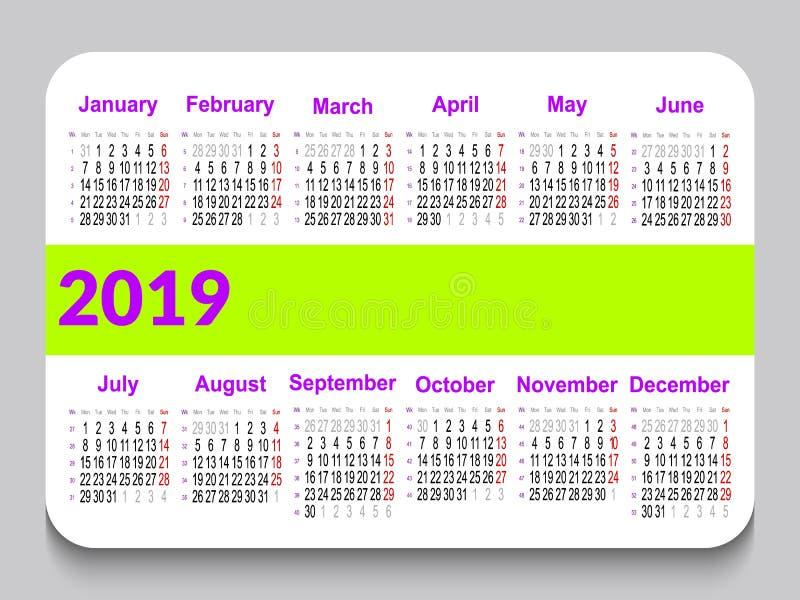 2019个口袋日历用英语 模板日历栅格 水平的取向 在星期一,星期起始时间 与spac的白色背景 皇族释放例证