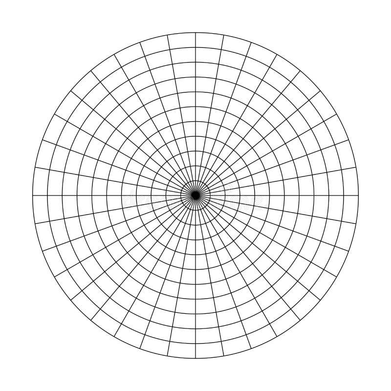 10个同心圆和10度步极性栅格  空白的传染媒介极性座标图纸 库存例证