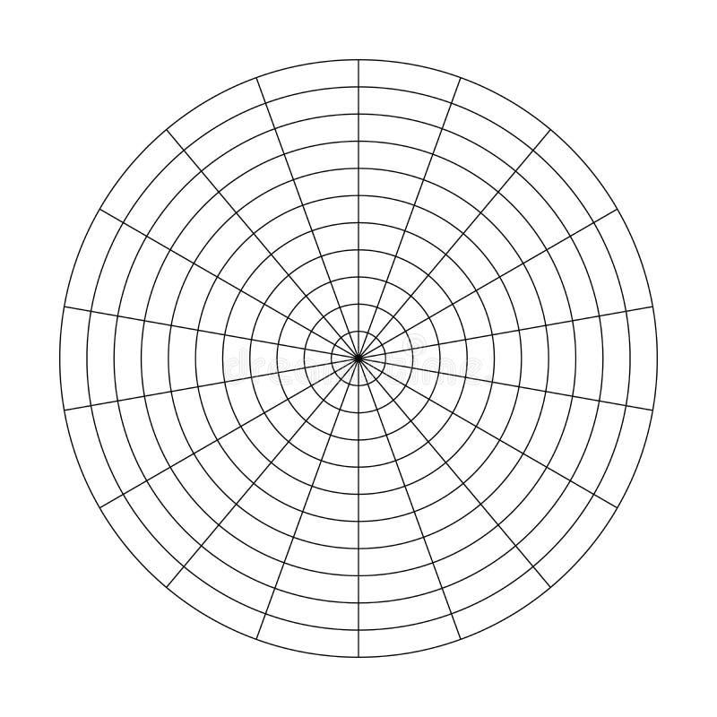 10个同心圆和20度步极性栅格  空白的传染媒介极性座标图纸 皇族释放例证