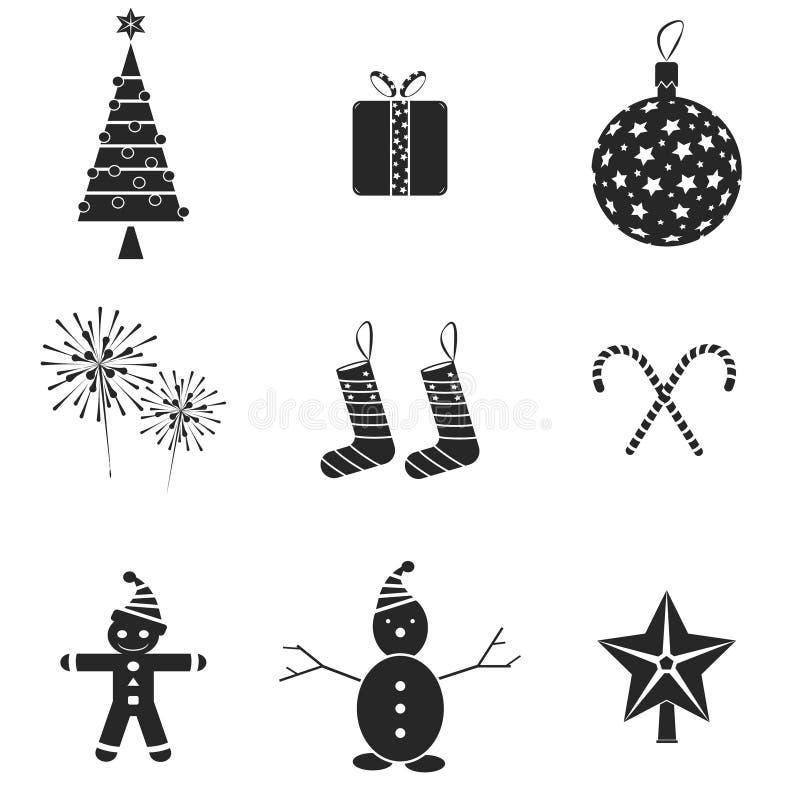 9个圣诞节图标 也corel凹道例证向量 皇族释放例证