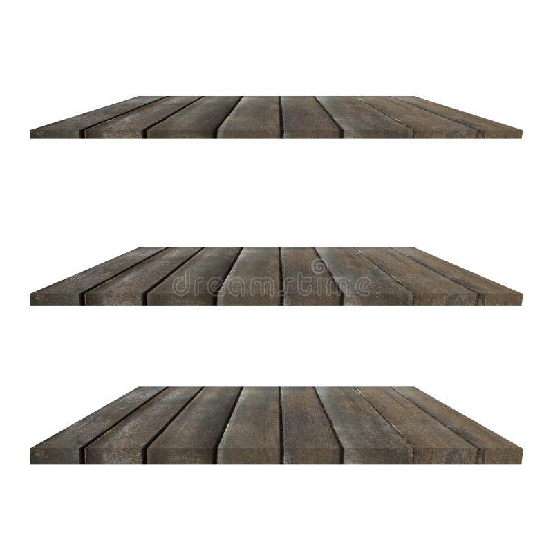 3个在与不同的观点的白色背景隔绝的木架子表对装饰 免版税图库摄影