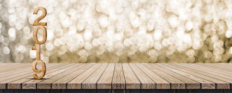 2019个在木桌机智的新年好木数字3d翻译 免版税图库摄影
