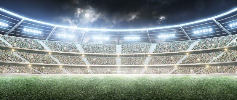 01个城市巴黎足球场 职业体育竞技场 在月亮下的夜体育场与光 全景 免版税库存图片