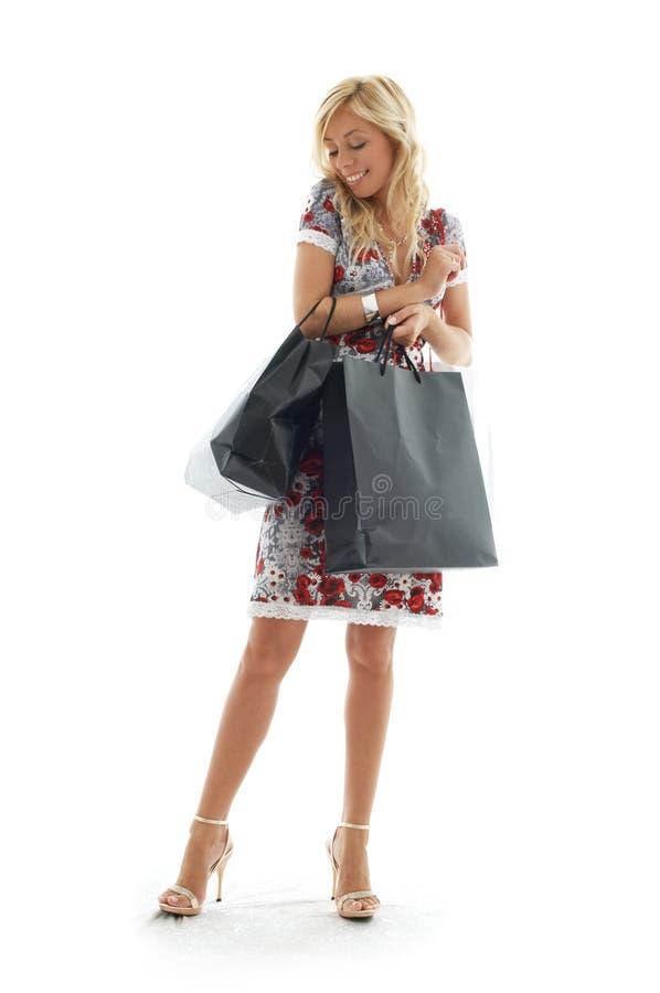 3个女孩购物 库存图片
