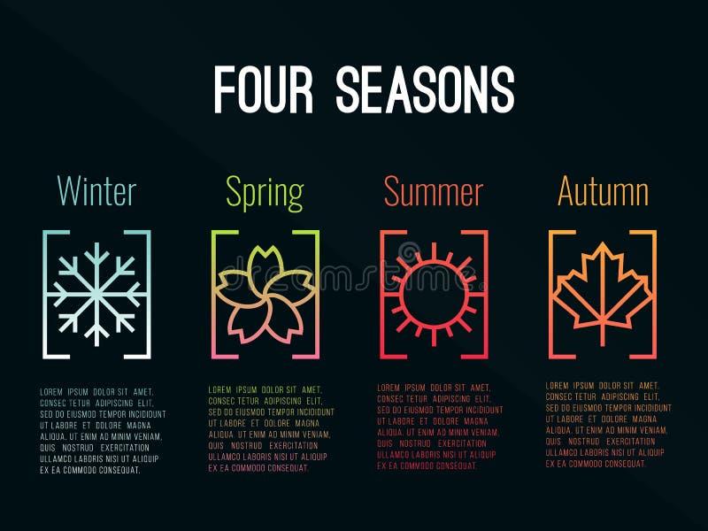 4个季节象签到与雪冬天、花春天、太阳夏天和枫叶秋天传染媒介设计的边界梯度 库存例证