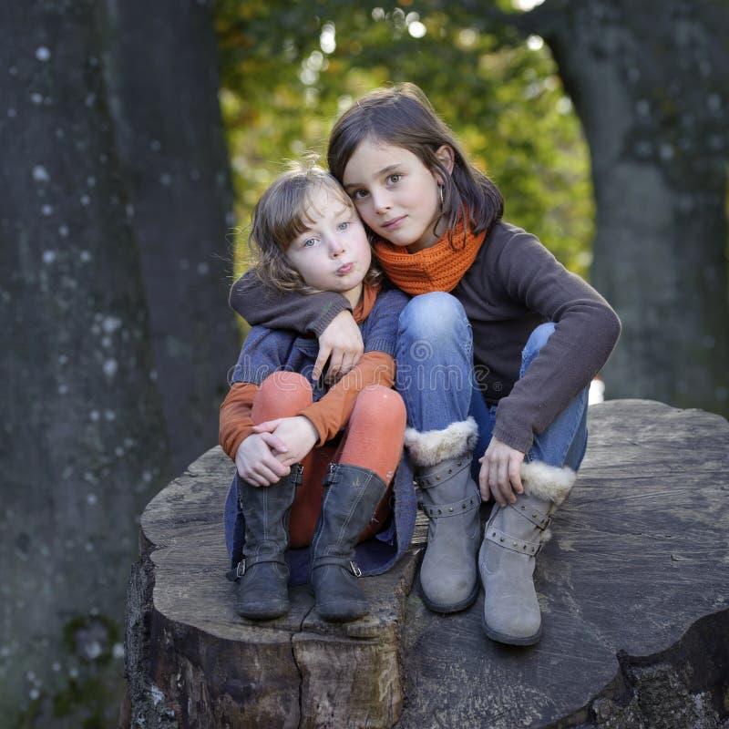 2个小女孩坐树干 库存照片