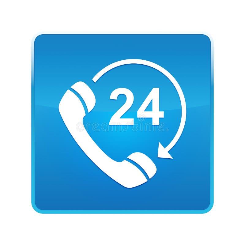 24个小时打开电话转动箭头象发光的蓝色方形的按钮 向量例证