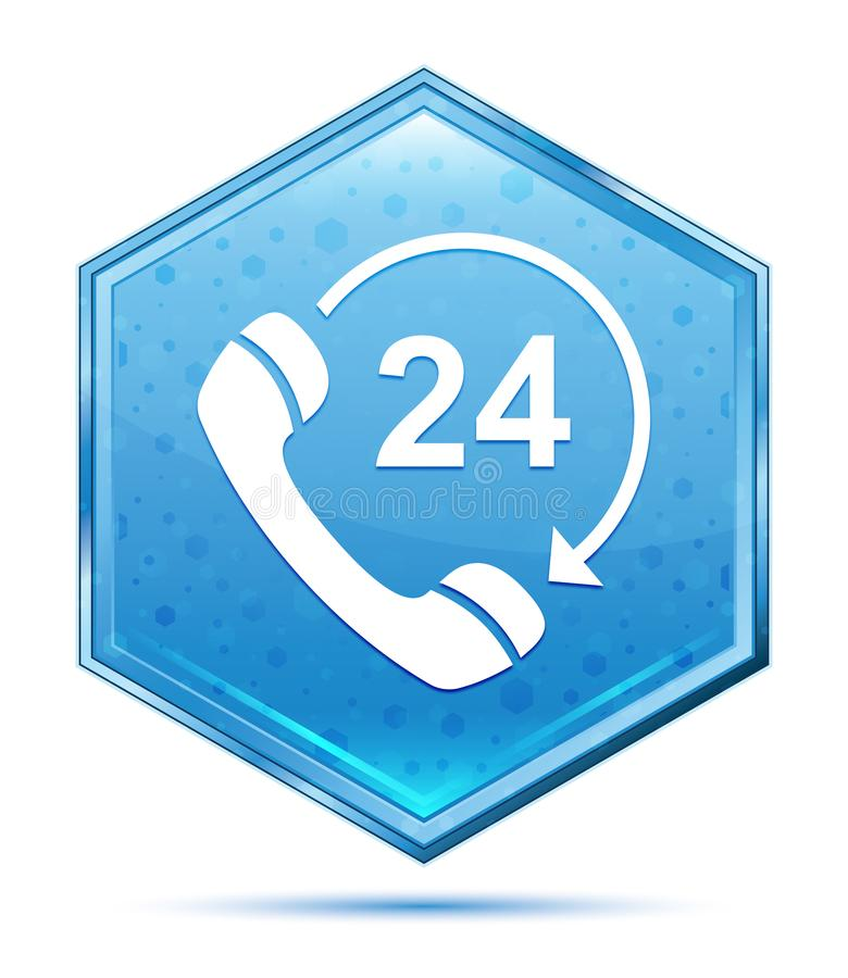 24个小时打开电话转动箭头象水晶蓝色六角形按钮 库存例证