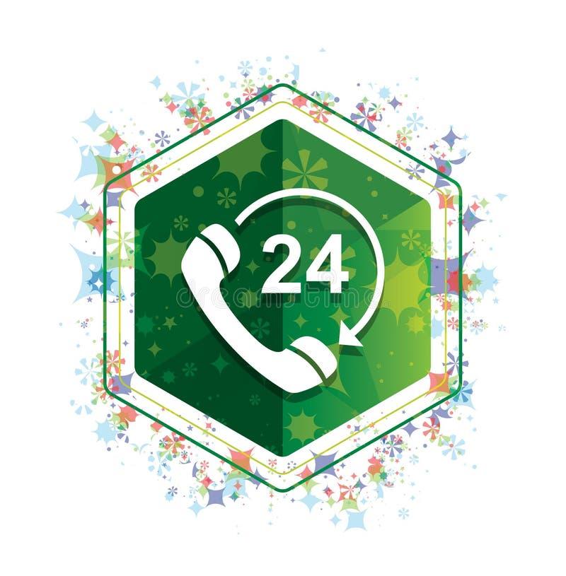 24个小时打开电话转动箭头象花卉植物样式绿色六角形按钮 向量例证