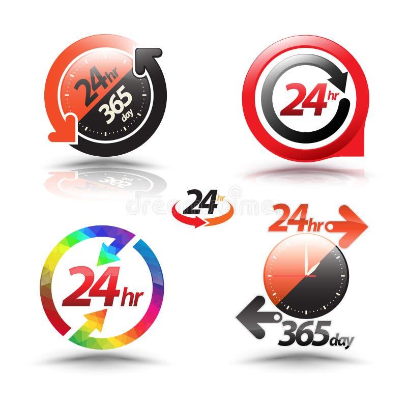 24个小时打开顾客服务汇集 库存例证