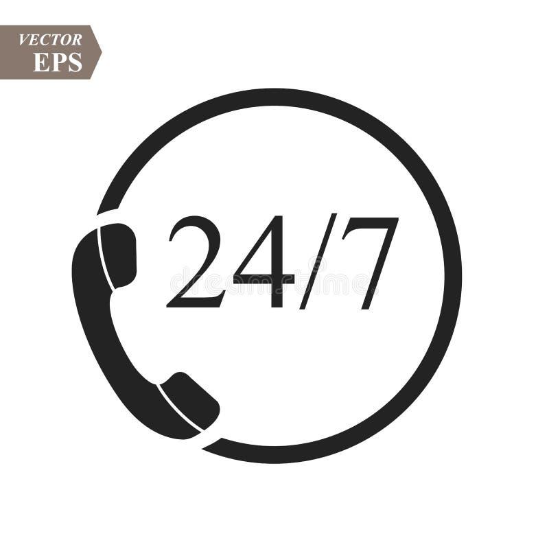 24个小时支持电话中心象 平稳的可利用的服务 二十四个小时每天 能为服务广告使用 24 7象 皇族释放例证
