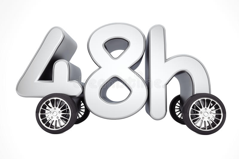 48个小时服务和交付概念在轮子 3d翻译 皇族释放例证