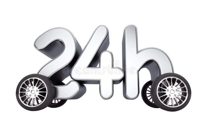 24个小时服务和交付概念在轮子 3d翻译 向量例证
