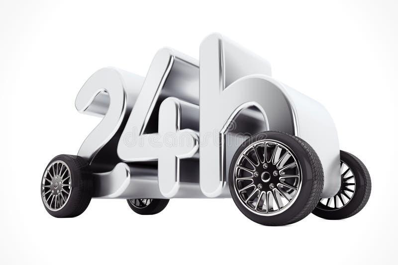 24个小时服务和交付概念在轮子 3d翻译 皇族释放例证
