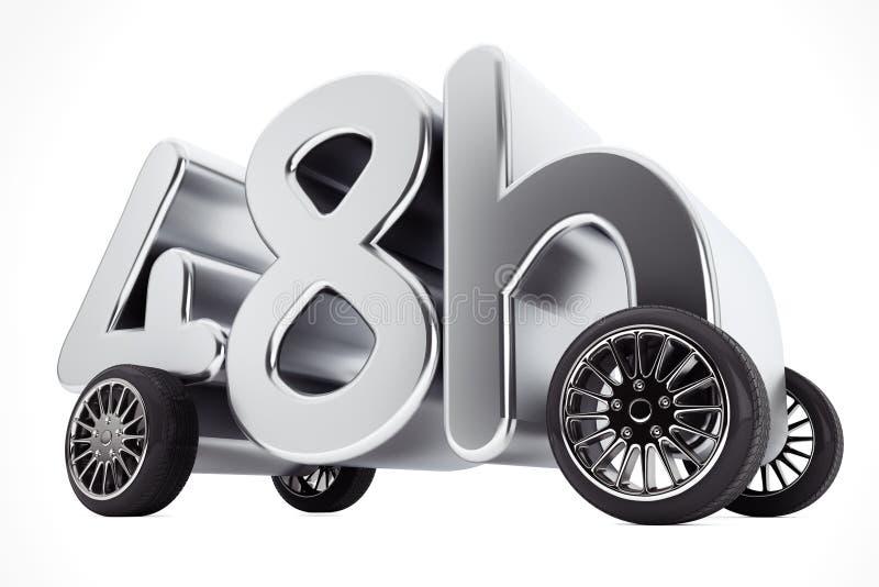 48个小时服务和交付概念在轮子 3d翻译 库存例证