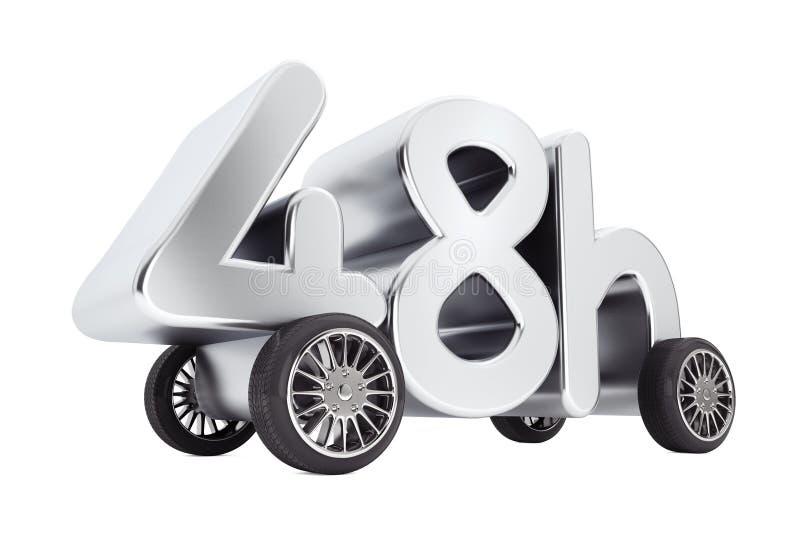 48个小时服务和交付概念在轮子 3d翻译 向量例证
