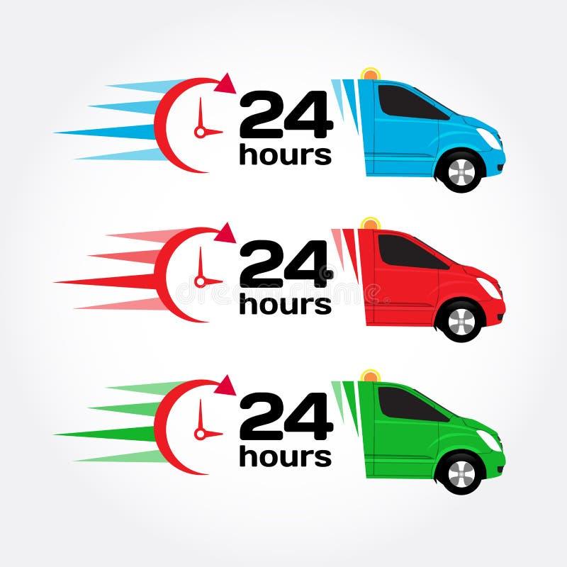 24个小时服务紧急汽车 汽车24个小时 蓝色,红色,绿色紧急状态/迫切汽车 运输汽车 送货车 动画片重点极性集向量 库存例证