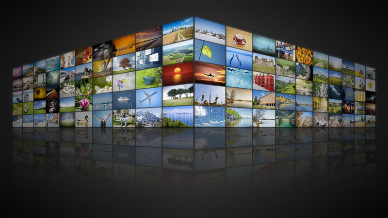 100个屏幕录影墙壁 皇族释放例证