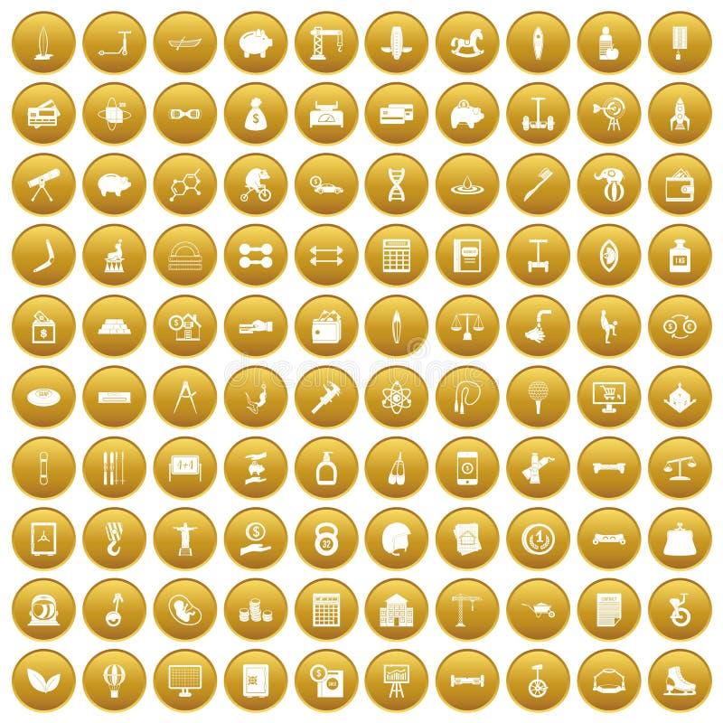 100个平衡象设置了金子 向量例证