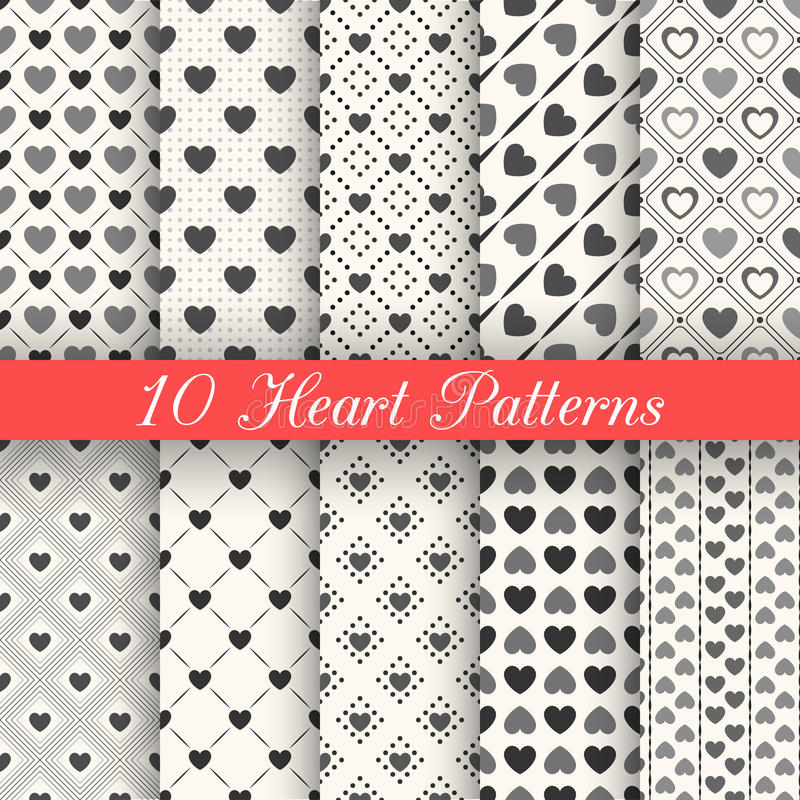 10个心脏形状传染媒介无缝的样式 黑色和 库存例证