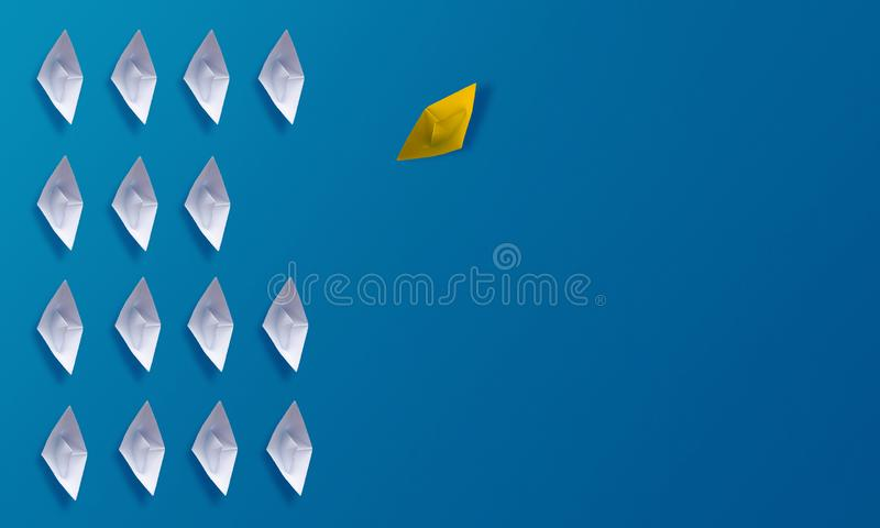 个性是另外概念、黄色Origami纸小船和白色小船 库存照片