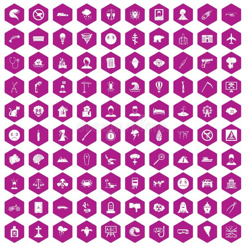 100个恐惧象六角形紫罗兰 库存例证