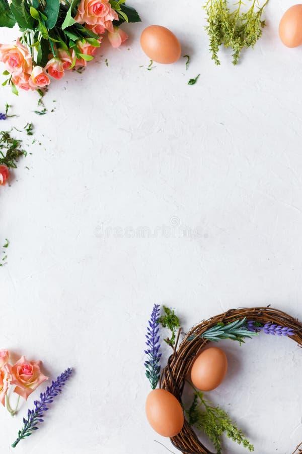 2个所有时段小鸡概念复活节彩蛋开花草被绘的被安置的年轻人 明亮的春天花,花圈用在轻的背景的复活节彩蛋 库存图片