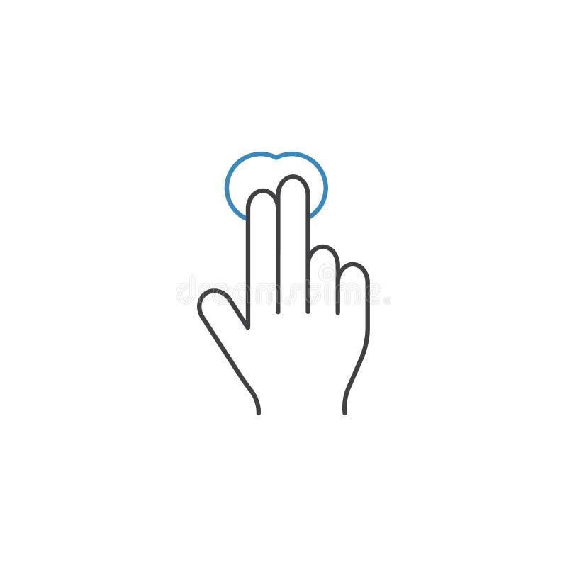 2个手指轻拍线象、接触和手势, 向量例证