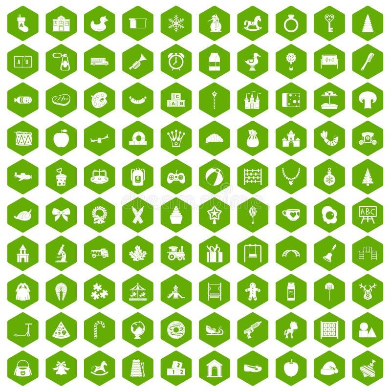 100个托儿所象六角形绿色 库存例证