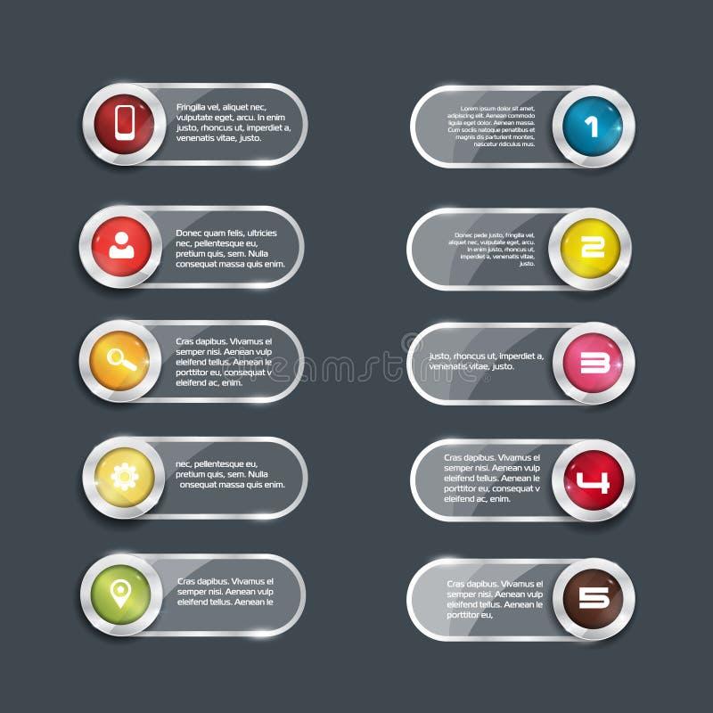10个按钮 玻璃surfice 库存例证