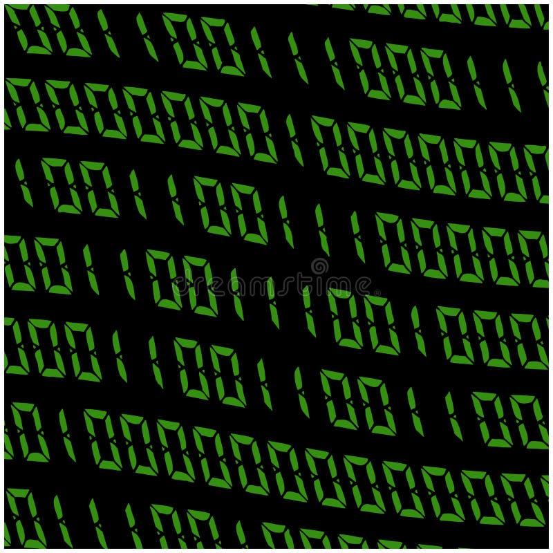 0,1个数字传染媒介墙纸 背景二进制黑色编码绿色 数字式矩阵摘要技术例证 皇族释放例证