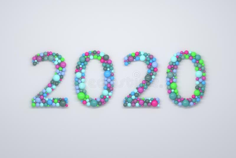 2020个数字由五颜六色的球形做成 向量例证