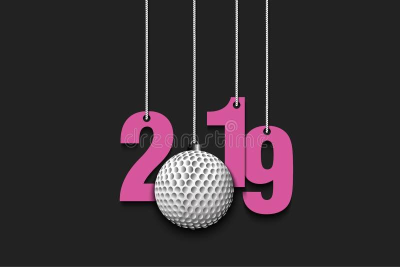 2019个新年和垂悬在串的高尔夫球 向量例证